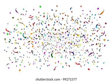 Party time celebration with confetti and streamers in the air as a festive design element for an anniversary or birthday fun with a bunch of paper of different colors exploding in happy emotion.