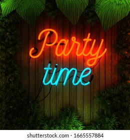 Party Time Flower Wall, Neon Sign, Mock-Up With Free Space, 3D Rendering, 3d Illustration.