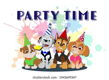 Party time! Paw patrol party time! Chase, Marshall, Skye and Rubble are wearing birthday caps. Bright and colorful birthday or invitation card with cartoon characters.