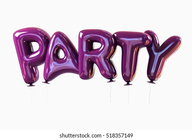 Party from Violet Balloons Template Isolated. 3d rendering