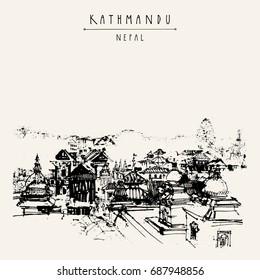 Pashupatinath Hindu temple, Kathmandu, Nepal. Travel sketch. Artistic hand drawing of a sacred place. Popular tourist destination Above city view. Hand drawn touristic postcard, poster, illustration