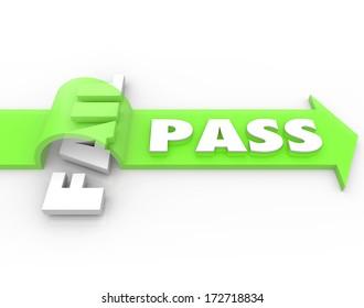 Pass Vs Fail Arrow Over Word Success Grade Exam Test