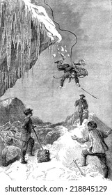 Passage of the glacier bergschrund Pilatte, vintage engraved illustration. Le Tour du Monde, Travel Journal, (1872).