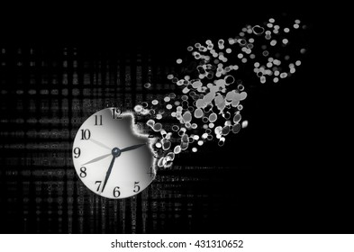 Passage of time. Clock falling apart / burning time concept