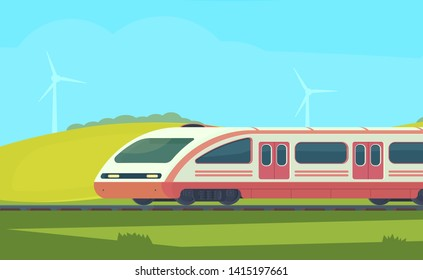 Passanger modern electric high-speed train with nature landscape in a hilly area.  Railway transport. Travel by train.