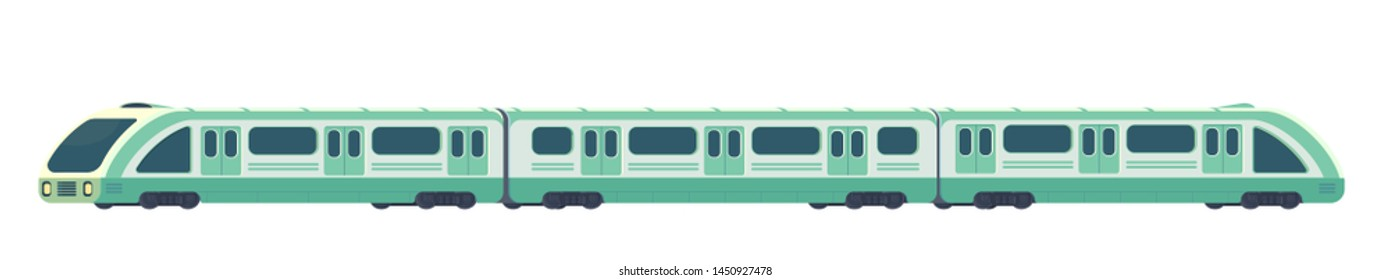 Passanger modern electric high-speed train. Railway subway or metro transport. Underground transport. flat illustration isolated on white.