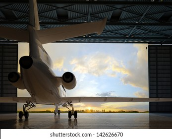 The  passenger aircraft in the hangar.