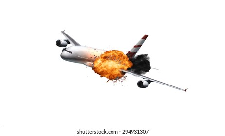 Passenger Airplane with an explosion isolated on white background