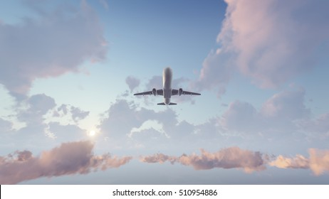 Passenger airplane flying overhead high in the sky above cumulus clouds at sunset or sunrise. 3D illustration was done from my own 3D rendering file.