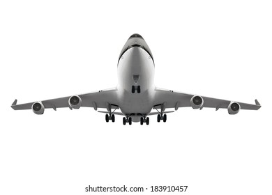 passenger airplane isolated white up jet fly model big flight cargo machine above 3d air