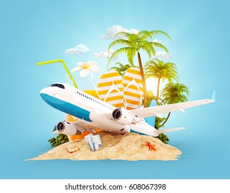 Passenger airplane and tropical palm on a paradise island. Unusual travel 3d illustration. Summer vacation and air travel concept