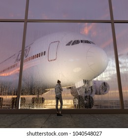 passenger in the airport, 3d illustration