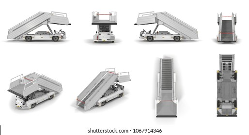 Passenger Boarding Stairs Car renders set from different angles on a white. 3D illustration