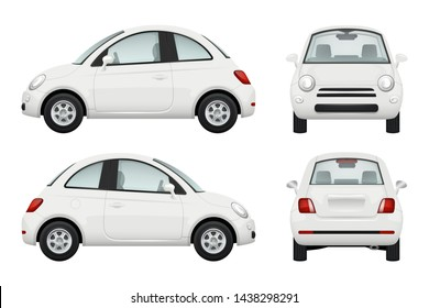 Passenger car. Different view realistic illustrations of cars. car transport, auto realistic white