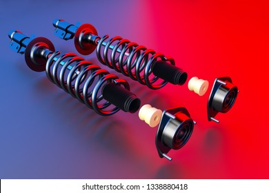 Passenger car Shock Absorber with dust cap, buffer mounting and strut mounting - new auto parts, spare parts. Spare parts for shop, aftermarket OEM. 3D rendering.