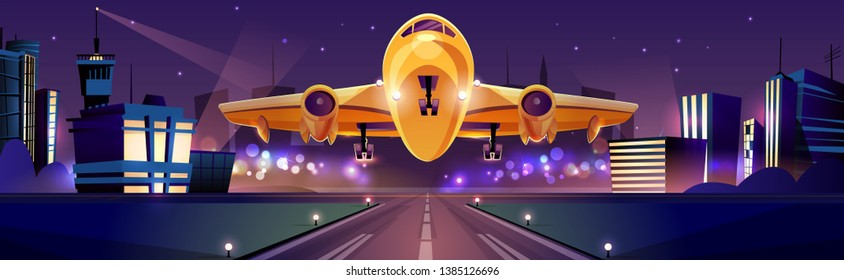 Passenger or cargo plane taking off or landing on runaway at night time, city lights on background cartoon illustration. Traveling by airlines, night flight from modern aerodrome. Air transport