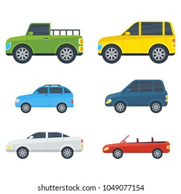 Passenger cars cartoon models. Sedan, universal, hatchback, pickup, off-road, SUV, cabriolet body types illustrations isolated on white background. For auto shops, salon ad, transport concepts
