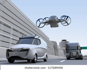 Passenger drone flying over delivery van and truck on highway. 3D rendering image.