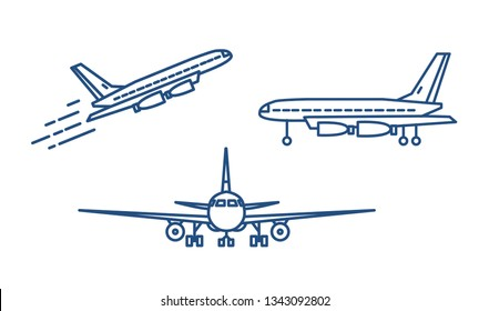 Passenger plane or civil aircraft taking off or ascending and standing on ground drawn with contour lines on white background. Front and side views. Monochrome illustration in linear style