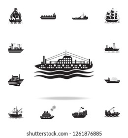 passenger ship on the sea icon. Detailed set of ship icons. Premium graphic design. One of the collection icons for websites, web design, mobile app