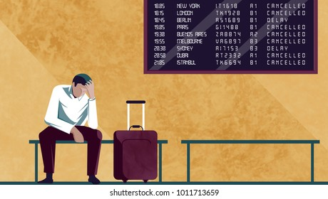 Passenger waiting for the plane, boarding, delays and strikes of the airlines
