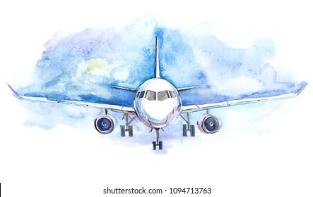 Passengers airplane flying. Traveling and transport business