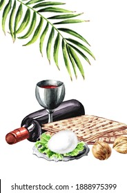 Passover seder traditional meal, Pesach card,  Concept of jewish religious holiday. Watercolor hand drawn illustration,  isolated on white background