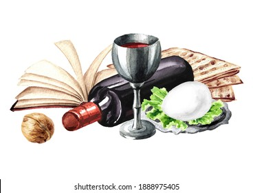 Passover seder traditional meal. Pesach card.  Concept of jewish religious holiday . Watercolor hand drawn illustration, isolated on white background