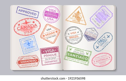Passport stamps. Travel and immigration marks collection, arrival and departure airport stamps.  countries isolated signs in passport, as a concept of security and entry control