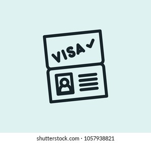 Passport visa icon line isolated on clean background. Passport visa icon concept drawing icon line in modern style.  illustration for your web site mobile logo app UI design.
