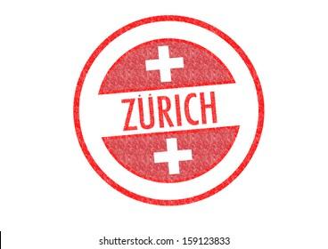 Passport-style ZURICH rubber stamp over a white background.
