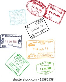 Passsport stamps from China, Egypt, Japan, Gibraltar, Canada, Guadeloupe, Spain
