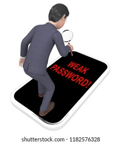 Password Weak Hacker Intrusion Threat 3d Rendering Shows Cybercrime Through Username Vulnerability And Compromised Computer
