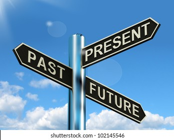 Past Present And Future Signpost Shows Evolution Destiny Or Aging. The Road Sign Expresses Choice Or Decision About The Plan For The Future.