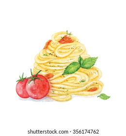 Pasta with tomato and basil. Watercolour food illustration on white background. Isolated image. Perfectly for menu card, flyers, print design.