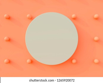 Pastel blue circle on a coral living background with coral pearls. Geometrical forms. Mockup for advertisement. 3d render.Color wall. Minimal background.