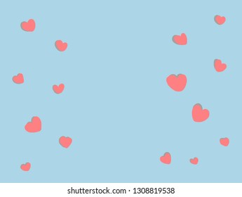 Pastel blue color background with cute heart