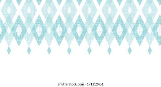 Pastel blue fabric ikat diamond horizontal seamless pattern background raster
