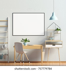Pastel child's room. playroom. modern style. 3d illustration. Poster mock up .