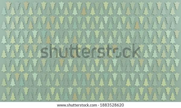 Pastel colored design of light green pines on green background. Flat lay design. Digital 3D render.