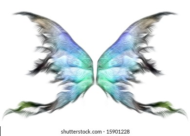 Pastel colored fairy wings isolated on white