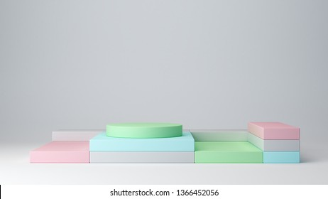 Pastel colors, shapes on abstract white background. Minimal boxes and podiums. Scene with geometrical forms. Empty showcase for cosmetic product presentation. Fashion magazine. Shop display. 3d render