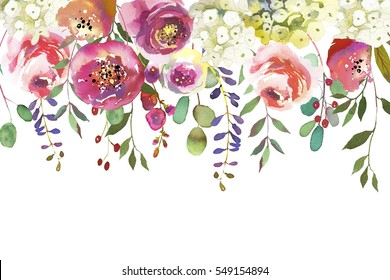 Pastel colors watercolour floral drop isolated on white background.