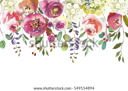 Pastel Colors Watercolour Floral Drop Isolated Stock