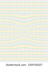 Pastel coloured abstract gingham check with a swirl.  Easter and Springtime celebration background in pink, green, yellow, blue and white.