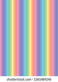 Pastel coloured abstract striped background in pink, orange, green, yellow, and blue spectrum