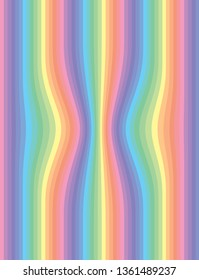 Pastel coloured abstract striped perspective background in pink, orange, green, yellow, and blue spectrum.