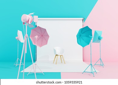 Pastel coloured photo studio with lighting equipment. 3d