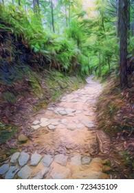 Pastel Drawing; Trail at the World Heritage Forest Kumano Kodo, Wakayama Prefecture, Japan, May, 2012