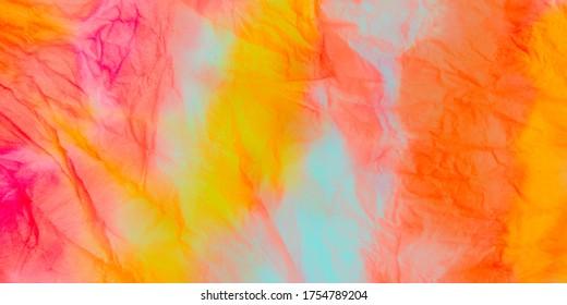 Pastel Fabric Tie Dye. Dye Background. Watercolour Tye Dye. Modern Grunge Art. Yellow Abstract Geometric Flyer. Ink Brush Stroke.